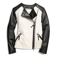 COLORBLOCK COLLARLESS LEATHER JACKET