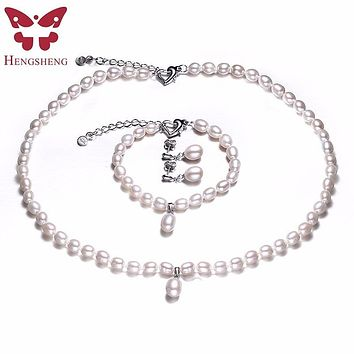 AAAA Natural Freshwater Pearl Jewelry Set Fashion Necklace Bracelet Earrings For Women