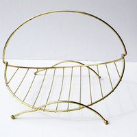 Vintage Magazine Rack Flat Newspaper Rack Gold Colored Metal Firewood Basket