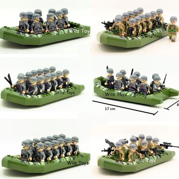Soldiers Rubber Dinghy Camouflage Inflatable Boat Army MILITARY War SWAT Model Building Blocks Figures Educational Toy Gift Boys