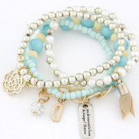 Candy Color bracelet for women  Multi Layer Bead Charm Bracelets sweet  stretch chain flower Accessory Bracelete