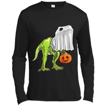 Halloween T Rex Dinosaur Ghost Trick or Treat  Kids Long Sleeve Moisture Absorbing Shirt