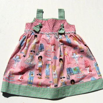 Pink baby sun dress, 18 months - 2 years.  Vintage paper doll design, pink spots and green flowers