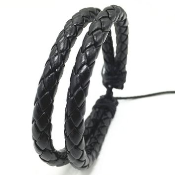 New Handmade New Punk 2 Layer PU Leather Men Bracelets For Women Jewelry Accessories Wholesale