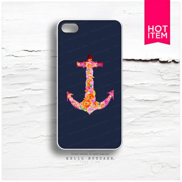 iPhone 4 and iPhone 4S case Floral Navy Anchor C8