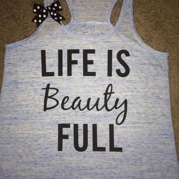 Life is Beauty Full - Blue Marble - Ruffles with Love - Womens Fitness