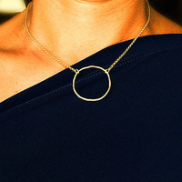 Gold LARGE, Organic Circle, KARMA Necklace, Gold Karma necklace, Brass Circle, Gold Vermeil chain