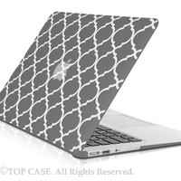 "TopCase Quatrefoil / Moroccan Trellis GRAY Ultra Slim Light Weight Rubberized Hard Case Cover for Macbook Air 13"" Model: A1369 and A1466"