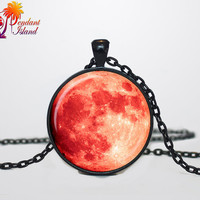 Full Moon Necklace Moon Pendant  Space  Galaxy Grey Moon  Jewelry Necklace for men  Art Gifts for Her(P11H02V02)