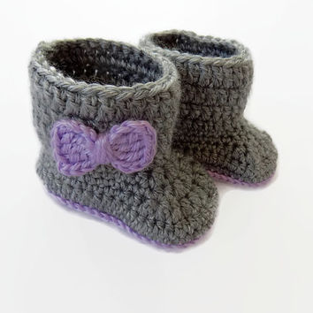 Baby Boots, Gray Baby Booties, Baby Girl Shoes, Newborn Baby Booties