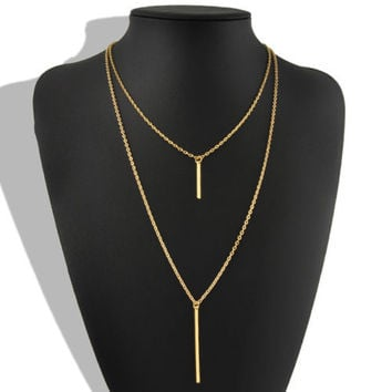 Double Layer Bohemian Gold Long Chain Vertical Drop Bar Pendant Necklace