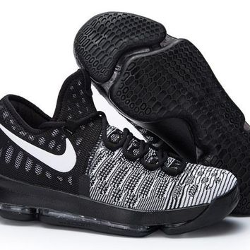 auguau Nike Men's Durant Zoom KD 9 Knit Mid-High Basketball Shoes White Black 40-46