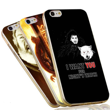 Jon Snow Wolf Night Watch The Game of Thrones Flags Case For iPhone 4 4S 5C 5 5S SE 6 6S 7 Plus Soft TPU Phone Cover