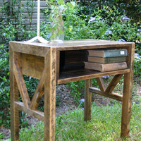 Reclaimed Wood  End Table Bed Side Table by GreenSouthLiving