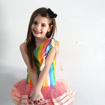 vintage girls dance dress / childrens clothing costume / rainbow dress up