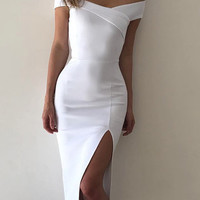 White Off Shoulder Front Slit Bodycon Dress