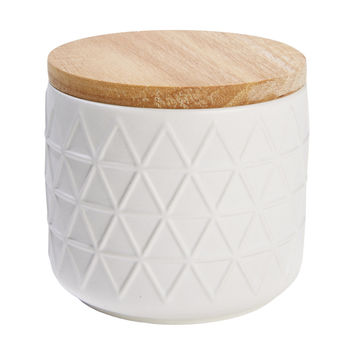 Small Canister Embossed - White | Kmart