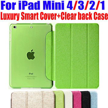 Newest Luxury Stand leather Case For ipad mini 4/3/2/1 Smart Cover Translucent Clear back Case For iPad Mini 4 3 2 1 NO: IM301