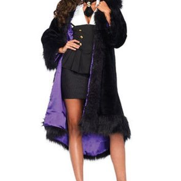 CREYI7E Satin lined faux fur coat with tail shawl collar SML/MED BLACK/PURPLE