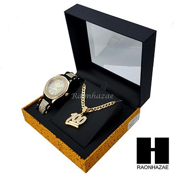 MEN EMOJI 100 WATCH & PENDANT CUBAN LINK CHAIN NECKLACE GIFT SET SS85G