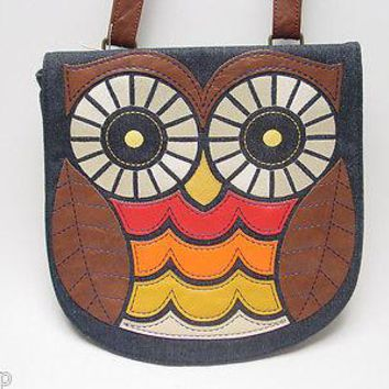 Loungefly Owl Brown Crossbody Bag Denim Faux Leather Applique