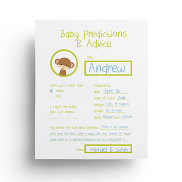 Baby Predictions Card - Baby Shower Games Printable - Shower Ideas