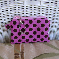 Change Purse Pink with Black Dots by KthysKreations on Etsy