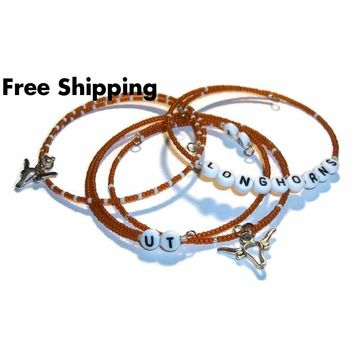 University of Texas Longhorns Stackable Four Bangle Bracelet Set (L-XXL)