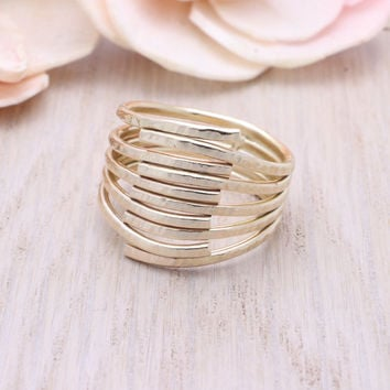 14k gold filled Dainty 5 ply wrap ring
