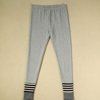 Striped Print Hem Elastic Waist Jogging Pants