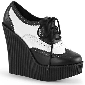 Black and White Wingtip Wedge Lace-Up Vegan Creepers