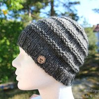 Cozy chunky men's hat - handknit beanie from Alpaka and cashmere yarn in gray, perfect holiday gift for him or her, winter fashion, wool hat