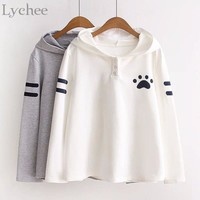 Lychee Lolita Japanese Style Spring Autumn Sweatshirt Cat Ears Claw Marks Print Kawaii Long Sleeve Hoodie