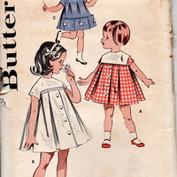 Butterick 60s Sewing Pattern Retro Style Girls Play Party Dress Smock Top Inverted Pleat Front Yoke Toddler Size 4