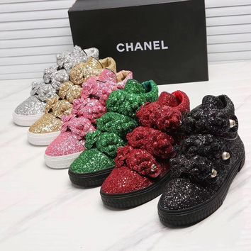 Chanel Classic Camellia sequins casual shoes
