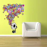 Color Wall Decal Vinyl Sticker Decals Note Notes Wave Music Flowers Curly Nice turntable gramophone (col13)