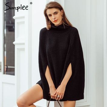 Simplee Turtleneck black knitted cloak sweater Women casual pullover winter women sweaters and pullovers streetwear