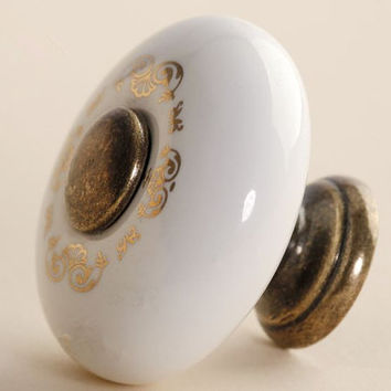 Dresser Knobs / Drawer Knobs Pulls Handles Ceramic White Gold Antique Brass / Cabinet Knobs Pull Handle / Furniture Knob Hardware A21