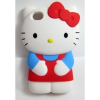 """Newest 3D Hello Kitty iPhone 4S/4G/4 Silicon Hard Case/Cover/Faceplate/Protector-Blue/Red-""""Perfect Edition"""""""