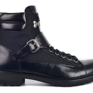 Versace Collection Men Black Leather Buckled Combat Boots