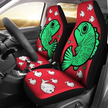 Cute Fish On Red Print Car Seat Covers-Free Shipping