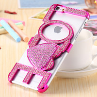 Pink Love With Heart Stand Diamond Hard Case For iPhone 6 6S 4.7inch For iPhone 6 +/ 6S Plus Fashion Accessories Cover Free Ship