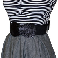 Black White Gray Belted Stripe Tube Dress | Junior Plus Size Dresses