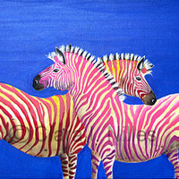 Archival Giclee Print, Diva Zebras on Royal Sapphire, 5x10, Pink, Fuschias, Blue, Sapphire, Zebra Art, Fun Animal Art, Vibrant Colors