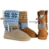 Women's Winter Knit Design Boots Faux Suede Flat Boot in Beige or Camel