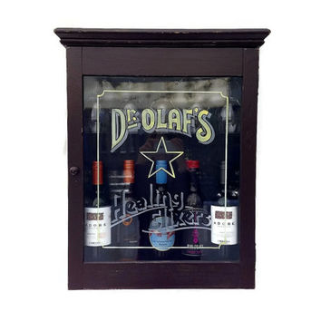 Wood Wine Cabinet, Wall Mounted, Hand Painted, Dr Olaf Healing Elixers
