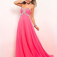 Hot Pink Rhinestone Embellished Chiffon Strapless Sweetheart Empire Waist Prom Gown - Unique Vintage - Cocktail, Pinup, Holiday & Prom Dresses.