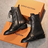 LV Heel Boots Louis Vuitton Imported leather - inner sheepskin - double Color rubber outsole Pumps