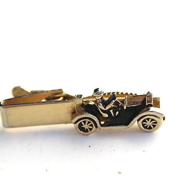 Vintage Tie Clip Mens SWANK Antique Car Driver Gold Tone Formal Wedding
