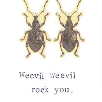 Funny Nerdy Natural History Science Insect Card: Weevil Weevil Rock You